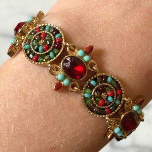 🔥 Vintage Gold Tone Cabochon Bracelet